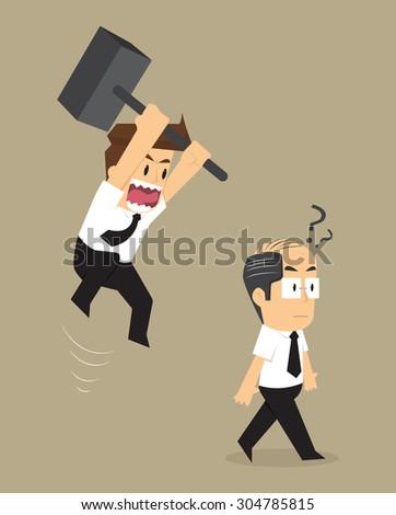 businessman jump smash boss