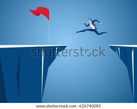 businessman jump through the