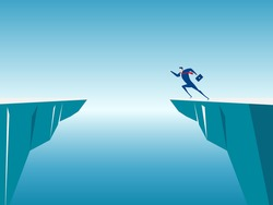 Businessman jump through the gap obstacles between hill to success. Running and jump over cliffs. Business risk and success concept. Cartoon Vector Illustration.