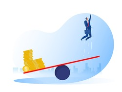 Businessman jumping on see saw and money . Career progression and investment, idea. Business startup concept.
