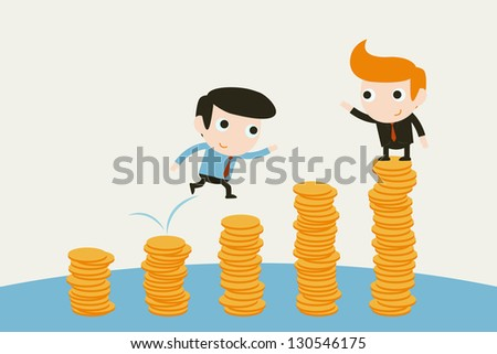 businessman jumping over money graph.