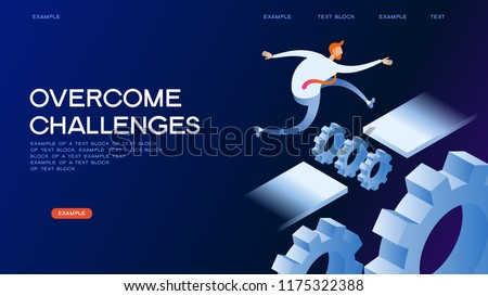 Businessman jumping over series of hurdles. Challenge on them. 3d isometric vector illustration.