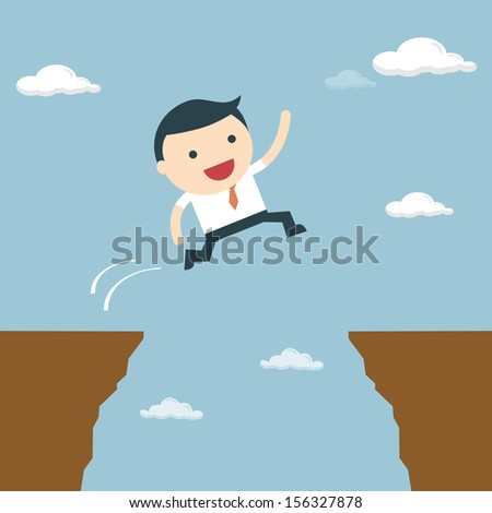 Businessman jumping over the cliff to goal.