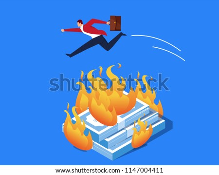 businessman jumping over the