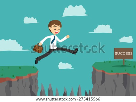 Businessman Jumping The Cliff To Get Success