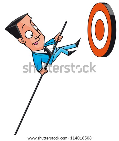 Businessman jumping to get targets