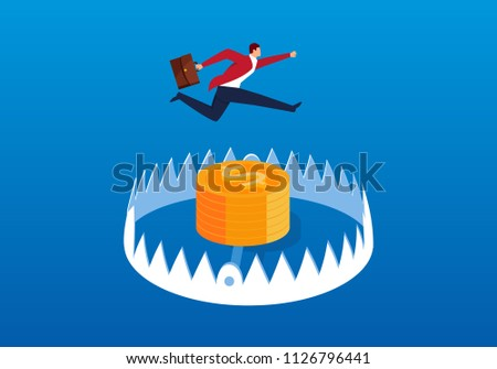 businessman jumping trap