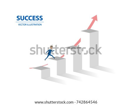 Businessman jumps on graph columns with his high ambition. A concept of success, achievement, motivation. Vector illustration.