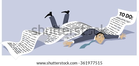 Businessman knocked down by an endless to-do list, EPS 8 vector illustration, no transparencies