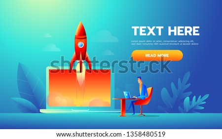 businessman launches rocket into the sky, employee performs the start-up of the spacecraft. Business startup concept.