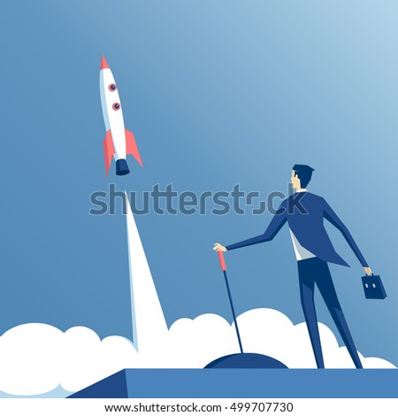 businessman launches rocket