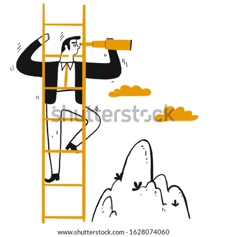 Businessman leader climb stair to peak with telescope for look around and far away. Hand drawing line art doodle style isolated on white background