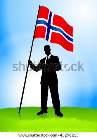 Businessman Leader Holding Norway Flag Original Vector Illustration EPS10