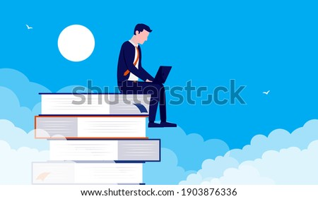 Businessman learning and studying - Man sitting on books with laptop and educating himself to advance career. Vector illustration. Foto stock ©