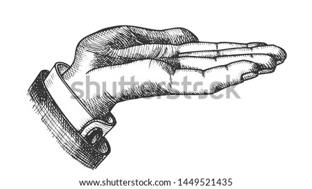 Businessman Left Hand Make Gesture Vintage Vector. Man Show Pointing Gesture Opened Palm Like Holding Cookie. Demonstrate Or Pleased Gesturing Signal Designed in Retro Style Illustration