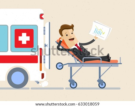 Businessman lie on a stretcher and an ambulance is near him. Concept of health insurance. Vector, illustration, flat