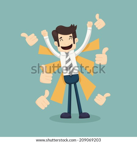 businessman like  thumbs up