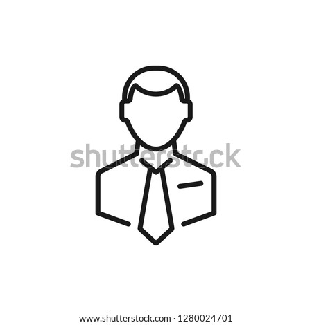 Businessman line icon. Man in tie. Occupation concept. Can be used for topics like top management, banking, finance, investment