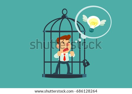 businessman locked in cage