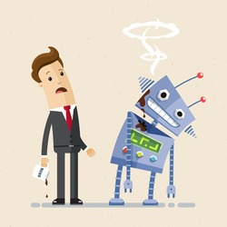 Businessman look at the broken robot. Artificial intelligence concept. Vector, illustration, flat