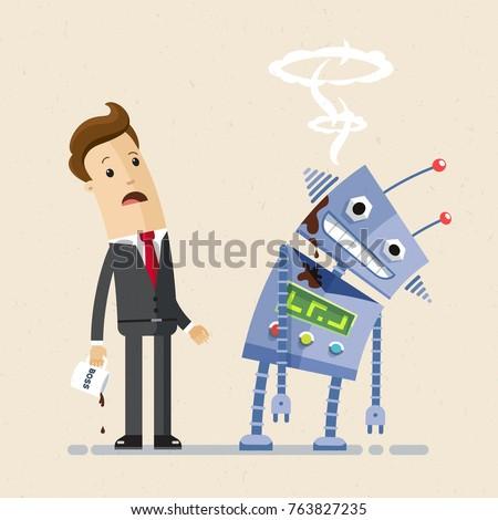 Businessman look at the broken robot. Artificial intelligence concept. Vector, illustration, flat