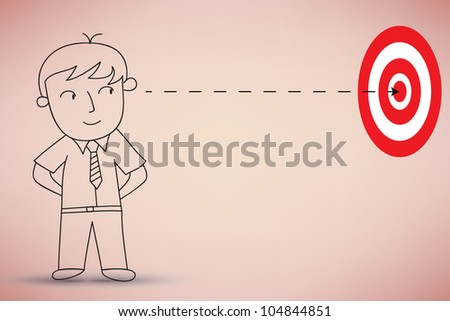 Businessman Look At The Target Vector