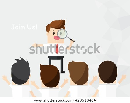 businessman look through magnifying with choose person for join company