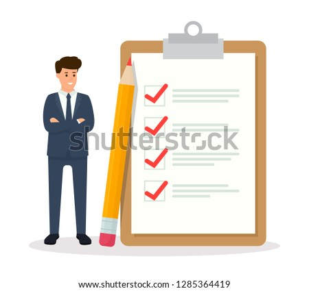 Businessman looking at completed checklist on clipboard. Successful completion of business tasks and goals achievements. Vector illustration EPS 10.