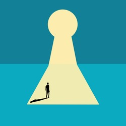 Businessman looking for a way out in the keyhole. business decision. motivation.Minimalist art style