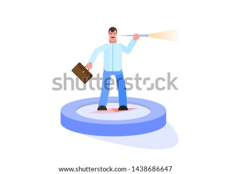 Businessman looking for opportunities. Compass - searching for investment opportunity - Vector . Effective management. Vector illustration. - Vector