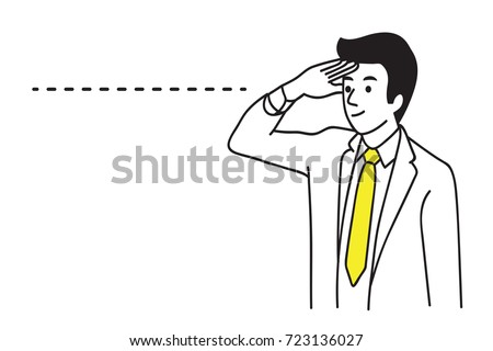 Businessman looking forward and beyond to see future, business concept of long distance vision ability.  Outline, linear, thin line art, contour, hand draw sketch design, simple style.