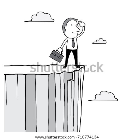 businessman looking forward and standing on high cliff over cloud in the sky. leader vision concept. isolated vector illustration outline hand drawn doodle line art cartoon design character.