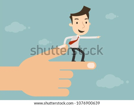 Businessman looking forward in the same direction with big hand pointing, Business concept, Vector illustration