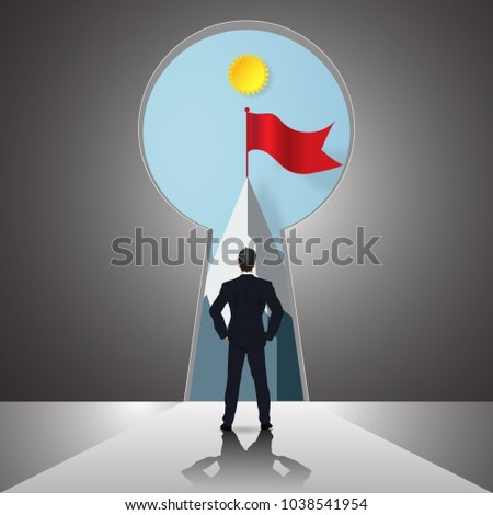 Businessman looking forward to opened door of chance, key hole and red flag on the peak mountain as business vision, future, direction, goal, success concept. vector illustration.