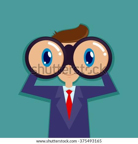 Businessman looking through binocular and smiling, vector illustration