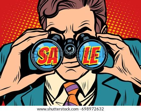Businessman looking through binoculars with the word Sale. Pop art retro vector illustration