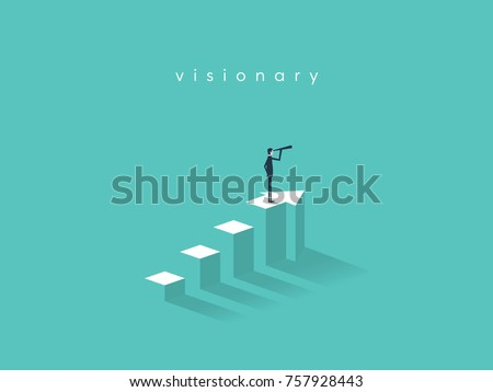 Businessman looking through telescope on top of the column graph. Business concept of goals, success, achievement and challenge. Eps10 vector illustration.
