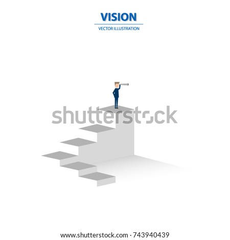 Businessman looking through telescope on top of the stairs. Business concept of goals, success, achievement and challenge. Vector illustration.