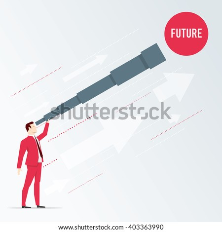 Businessman looks future through a telescope. Vector business concept illustration.