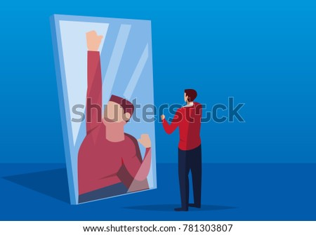 Businessman looks in the mirror