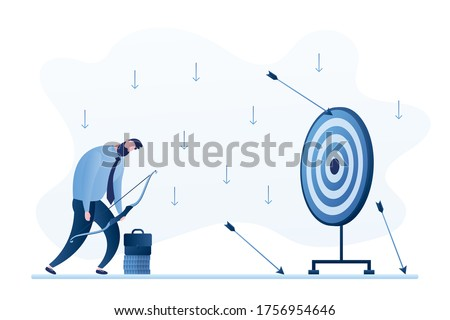 Businessman loser with archery. Not hit target, arrows around. Sad male character aiming target with bow and arrows. Unsuccessful entrepreneur. Failed investment. Flat vector illustration Сток-фото ©