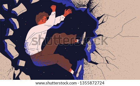 Businessman, male office worker or employee climbing up cliff and falling off. Concept of professional fiasco, career failure. Person overcoming life obstacles. Modern flat vector illustration.