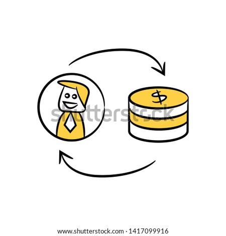 businessman, manpower and money for resource allocation yellow hand drawn theme