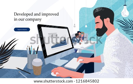 businessman marketer working at the computer in the office, vector flat illustration of programmer, business analyst, designer, manager