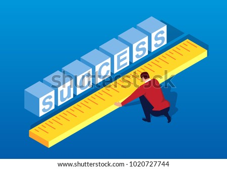 Businessman measuring the distance to success