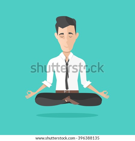 businessman meditates in lotus