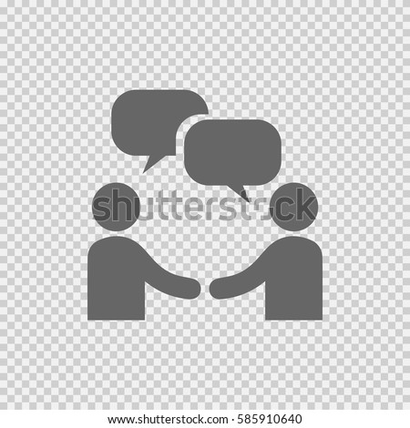 Businessman meeting bubble handshake simple isolated vector icon eps 10. Business agreement symbol sign on transparent background