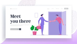Businessman Move in Apartment Website Landing Page. Business Man Shaking Hand to Home Owner after Rent or Buying Real Estate. Welcoming in New Home Web Page Banner. Cartoon Flat Vector Illustration