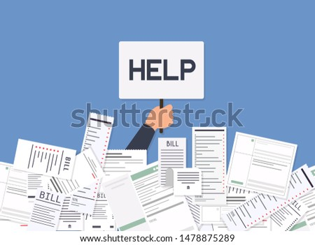 Businessman needs help under a lot of bills. Paying bills. Payment of utility, bank, restaurant and other bills. Flat design modern vector illustration concept.
