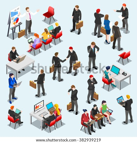Businessman network isolated Business market management infographic element icon Sale lead Finance set office Meeting work place 3D Isometric People sit person desk bank stock exchange manager vector